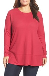 Sejour Plus Size Women's Thermal Tunic Red Cerise