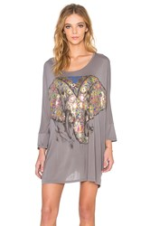 Lauren Moshi Milly Large Floral Elephant Oversized Dress Gray