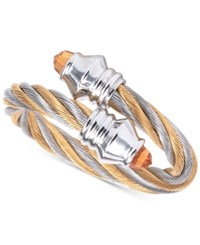 Charriol Women's Fabulous Citrine Accent Two Tone Pvd Stainless Steel Cable Ring 02 821 1219 2 Two Tone
