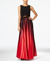 Betsy And Adam Petite Ombre Illusion Popover Gown Black Red