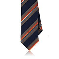 Barneys New York Men's Silk Repp Necktie Navy