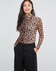 Soaked In Luxury High Neck Leopard Print Top With Sheer Sleeve Leo Mesh Print Multi