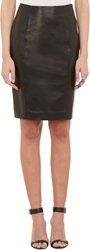 Barneys New York Leather Pencil Skirt Black