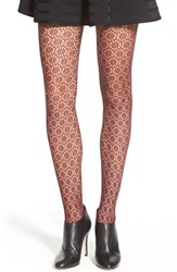 Chelsea 28 Women's Chelsea28 'Hex Floral' Lace Tights Burgundy Stem