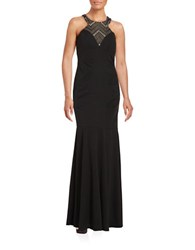 Decode 1.8 Illusion Halterneck Gown Black