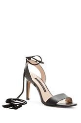 French Connection Liesel Tasseled Wraparound Lace Sandal Black