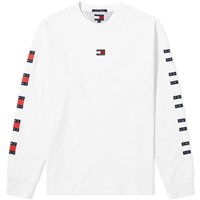 Tommy Jeans Long Sleeve Repeat Flag Tee White