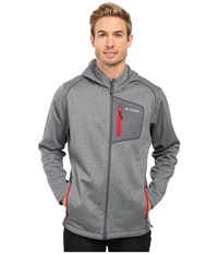 Columbia Jackson Creek Hoodie Graphite Heather Mountain Red Men's Sweatshirt Gray