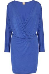 Haute Hippie Wrap Effect Modal Mini Dress Blue