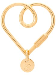 Mulberry Looped Heart Keyring Gold