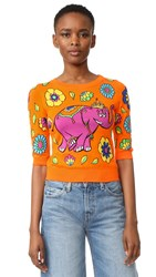 Moschino Short Sleeve Sweater Fantasy Print Orange
