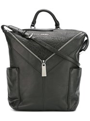 Diesel Zip Detail Backpack Black