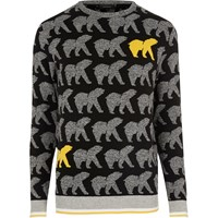 River Island Mens Black Yellow Bear Christmas Jumper