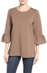 Halogenr Women's Halogen Ruffle Sleeve Tunic Dark Mocha