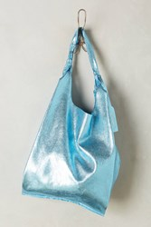 Anthropologie Reversible Leather Tote Sky