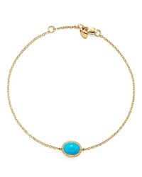 Bloomingdale's Oval Bezel Set Turquoise Chain Bracelet In 14K Yellow Gold Turquoise Gold