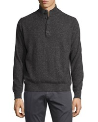Neiman Marcus Ribbed Trim Cashmere Pullover Sweater Charcoal N