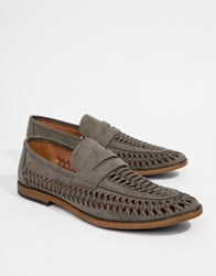New Look Faux Suede Woven Loafers In Light Grey Light Grey