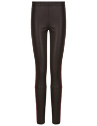 Haider Ackermann Black And Red Hemlock Leather Trousers Multi