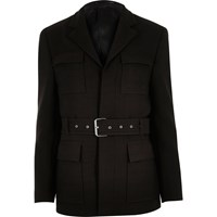 River Island Mens Dark Brown Slim Belted Jacket