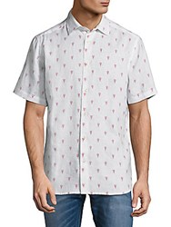 Saks Fifth Avenue Graphic Linen Button Down Shirt White Red