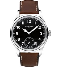 Montblanc 112638 Collection 1858 Leather And Stainless Steel Watch Black