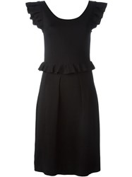 Christian Dior Vintage Ruffled Dress Black