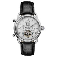 Ingersoll Men's The New England Automatic Chronograph Date Heartbeat Leather Strap Watch Black Silver