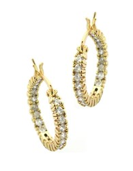 Lord And Taylor Gold Over Sterling Silver Hoop Earrings With Cubic Zirconia Embellishments