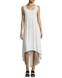 Neiman Marcus Scoop Neck Strappy Back Dress Light Gray