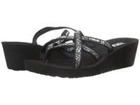 Teva Mush Mandlyn Wedge Ola 2 Fleur Black White Women's Wedge Shoes