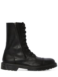 Vetements Leather Army Boots W Logo Tag Black