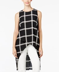 Alfani Prima Plaid High Low Crossover Top Only At Macy's Black White