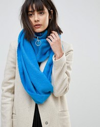 Asos Woven Snood With Zip And Ring Pull Blue
