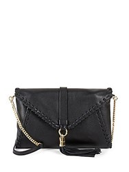 Milly Astor Whipstitch Leather Crossbody Black