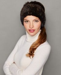 The Fur Vault Knitted Mink Fur Headband Brown