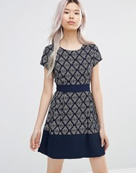 Wal G Skater Dress In Geo Print Navy