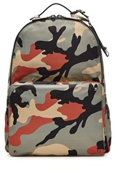 Valentino Camouflage Print Backpack With Leather Multicolor