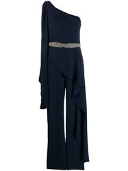 Alice Olivia Venita One Shoulder Jumpsuit Blue