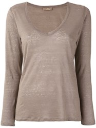 Cruciani Scoop Neck Long Sleeve Top Women Linen Flax 40 Nude Neutrals