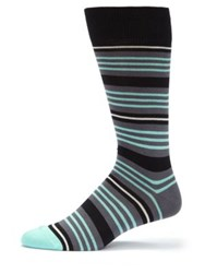 Paul Smith Multi Striped Knitted Socks Aqua Blue Coral