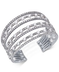 Inc International Concepts Silver Tone Pearl And Pave Multi Row Cuff Bracelet Created For Macy's