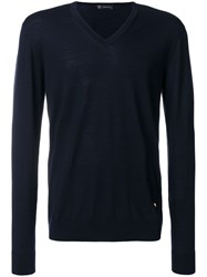 Versace V Neck Slim Fit Jumper Blue