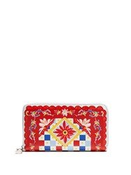 Dolce And Gabbana Carretto Print Leather Zip Around Wallet Red Multi
