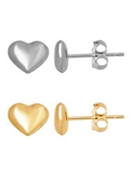 Lord And Taylor 14K Gold Heart Stud Earrings