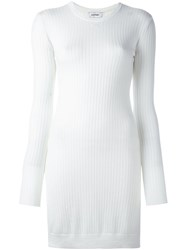 Courreges Ribbed Round Neck Dress Nude And Neutrals