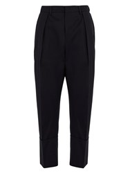 Wooyoungmi Tapered Leg Cropped Wool Trousers Navy