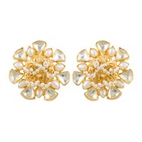 Kastur Jewels Heritage Flower Pearl And Crystal Earrings Gold White Silver