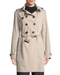 Jane Post Belted Tech Fabric Trenchcoat Brown