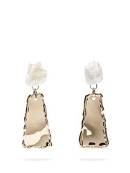 Proenza Schouler Stone Hammered Clip On Earrings Grey